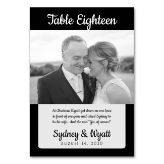 Black n White Photo Story Table Number Cards