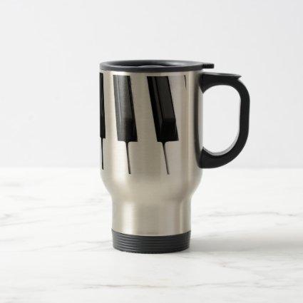 Black n White Piano Keyboard Key Picture Image Coffee Mug