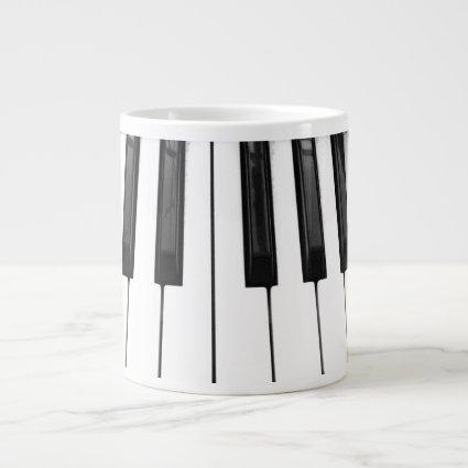 Black n White Piano Keyboard Key Picture Image 20 Oz Large Ceramic Coffee Mug