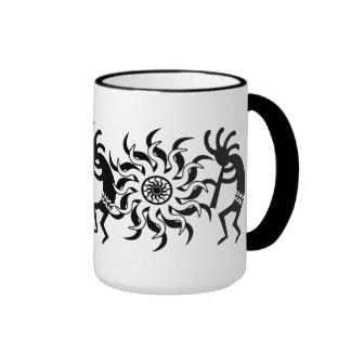 Black N White Southwest Kokopelli Tribal Sun Coffee Mugs