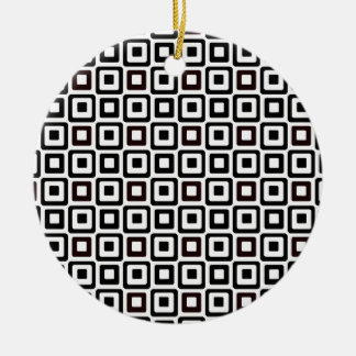 Black-n-White Squares Ceramic Ornament