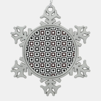 Black-n-White Squares Snowflake Pewter Christmas Ornament