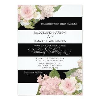 Black n White Striped w Pink Hydrangeas Wedding Card