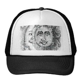 Black n White Sun and Moon Design Trucker Hat
