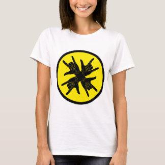 Black n yellow crazy Rock sign T-shirt. T-Shirt