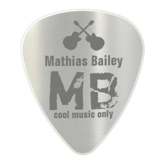 black name & uppercase letters on silver polycarbonate guitar pick
