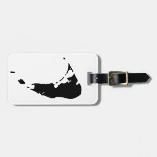 Black Nantucket Island Map Luggage Tag