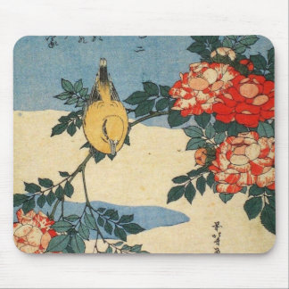 Black-naped Oriole and China Rose (by Hokusai) Mouse Pad