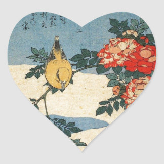Black-naped Oriole and China Rose by Hokusai Heart Stickers