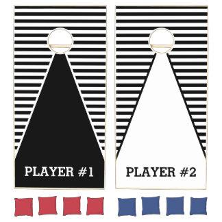 Black Narrow Stripes + your back-color & ideas Cornhole Set