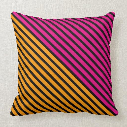 Black Narrow Stripes + your backgr. color & ideas Throw Pillow Zazzle