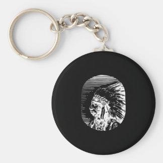 Black Native American Basic Round Button Keychain