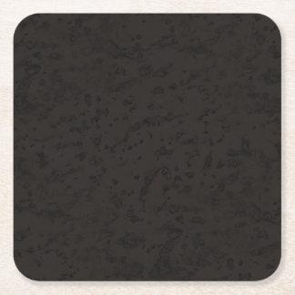Black Natural Cork Bark Look Wood Grain Square Paper Coaster