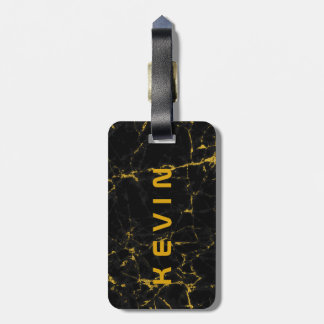 Black Natural Marble Stone Print Gold Accent Luggage Tag