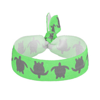 Black Nature Reptile Turtle Pattern on Lime Green Ribbon Hair Tie