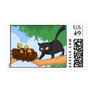 Black Naughty Cat 1 Stamp
