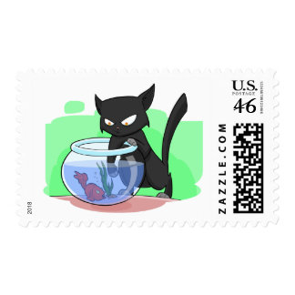 Black Naughty Cat 2 with Fish Stamp