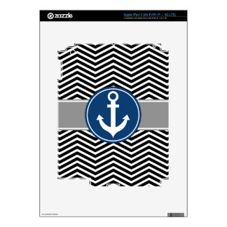 Black Nautical Anchor Chevron iPad 3 Skin