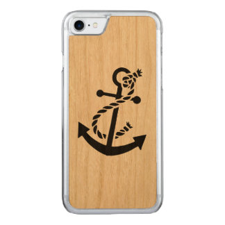 Black Nautical Boat Anchor Carved iPhone 7 Case