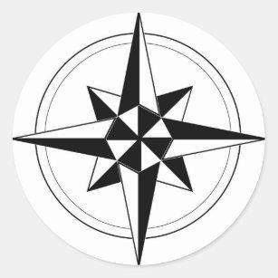 Black Nautical Compass Classic Round Sticker
