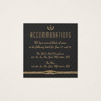 Black Nautical Wedding Accommodation Card Golden