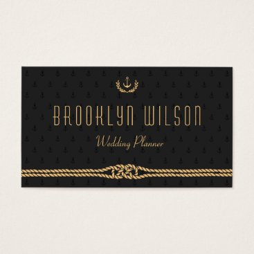 Professional Business Black Nautical Wedding Planner Business Cards Gold
