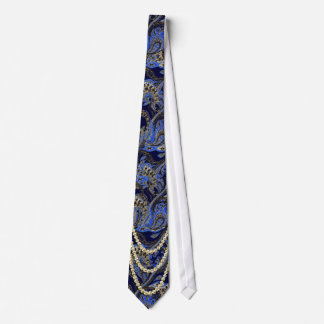 Black Navy and Gold Vintage Paisley Peacock Tie