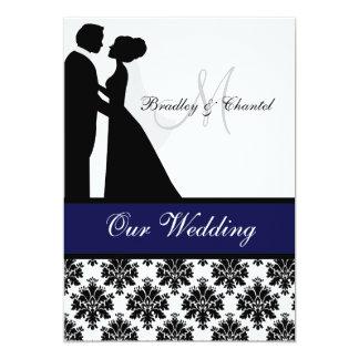 "Black, Navy, and White Couple Wedding Invitation 5"" X 7"" Invitation Card"
