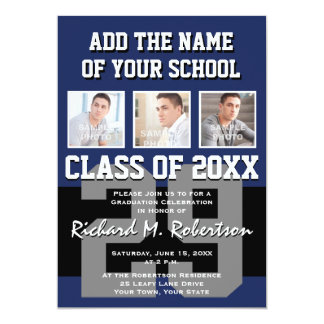 Black, Navy Blue and Gray Team Member's Graduation 5x7 Paper Invitation Card