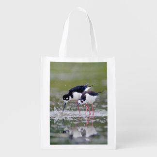 Black-necked Stilts in love breeding display Reusable Grocery Bag