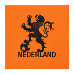 Black Nederland Lion - Dutch Soccer Lion Stretched Canvas Print
