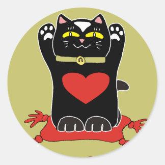 Black Neko with Hearts Classic Round Sticker