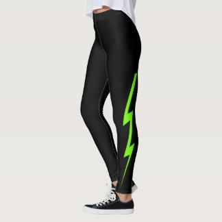 Black Neon Green Lightning Bolt Leggings