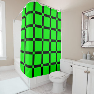 Black Neon Green Pattern Shower Curtain