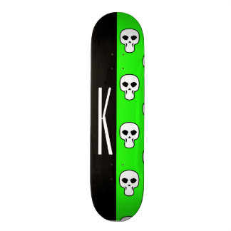 Black & Neon Green Skulls Pattern Skateboard Deck