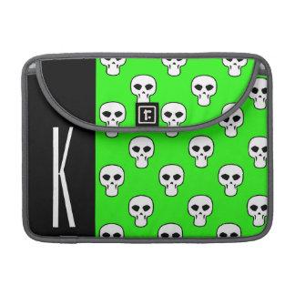 Black & Neon Green Skulls Pattern Sleeve For MacBooks