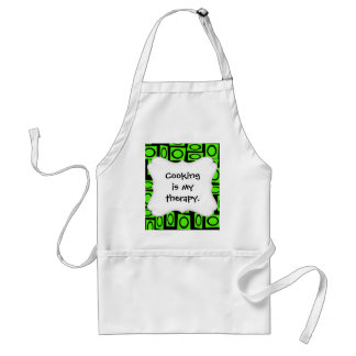 Black Neon Lime Green Fun Circle Square Pattern Adult Apron