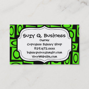 Neon green business cards zazzle black neon lime green fun circle square pattern business card reheart