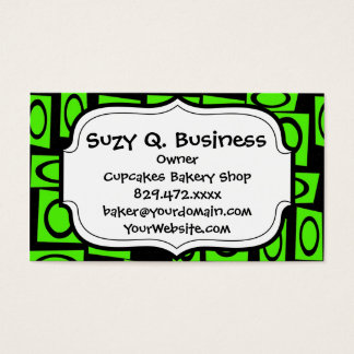 Black Neon Lime Green Fun Circle Square Pattern Business Card