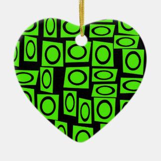 Black Neon Lime Green Fun Circle Square Pattern Ceramic Ornament