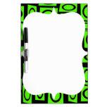 Black Neon Lime Green Fun Circle Square Pattern Dry-Erase Whiteboards