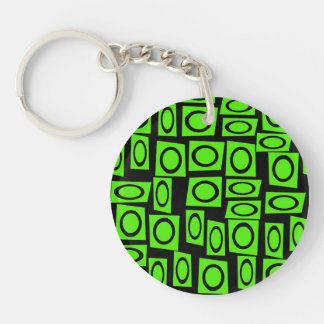 Black Neon Lime Green Fun Circle Square Pattern Keychain