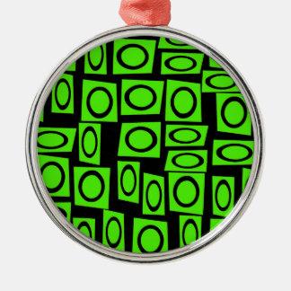Black Neon Lime Green Fun Circle Square Pattern Metal Ornament