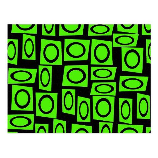 Black Neon Lime Green Fun Circle Square Pattern Post Card