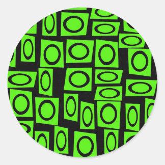 Black Neon Lime Green Fun Circle Square Pattern Sticker