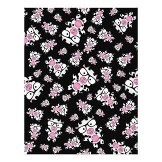 Black nerd cow pattern letterhead
