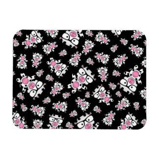 Black nerd cow pattern rectangular magnets