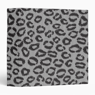 Black net lace with leopard pattern on white 3 ring binder