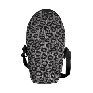 Black net lace with leopard pattern on white courier bag