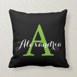 Black Neutral Solid Color Bright Green Monogram Throw Pillow